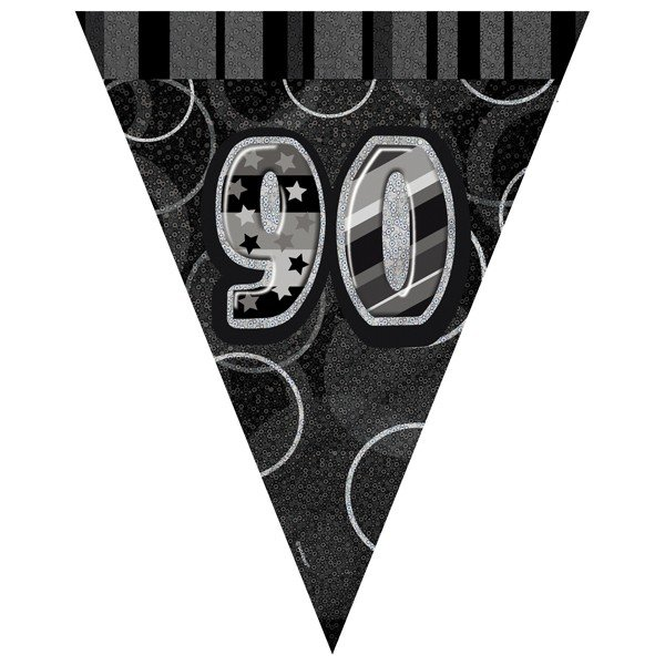 Unique Party Black-Silver Pennant Bunting - 90