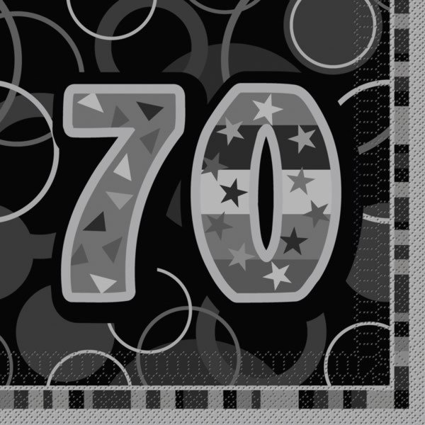 Unique Party Black Glitz Lunch Napkins - 70