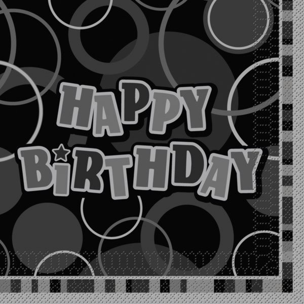 Unique Party Black Glitz Lunch Napkins - Birthday