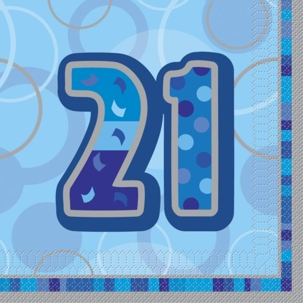 Unique Party Blue Glitz Lunch Napkins - 21