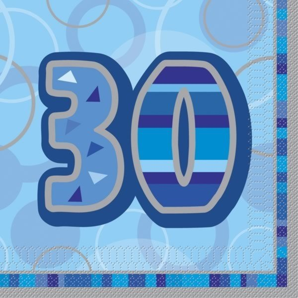 Unique Party Blue Glitz Lunch Napkins - 30