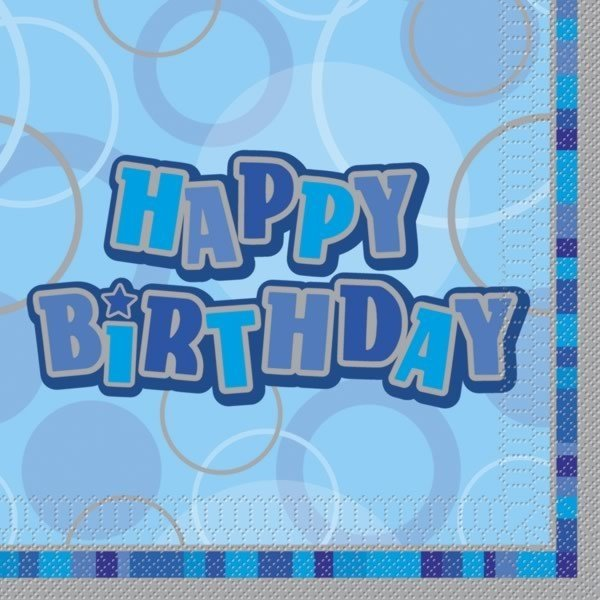 Unique Party Blue Glitz Lunch Napkins - Birthday