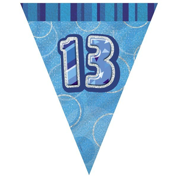Unique Party Blue Pennant Bunting - 13