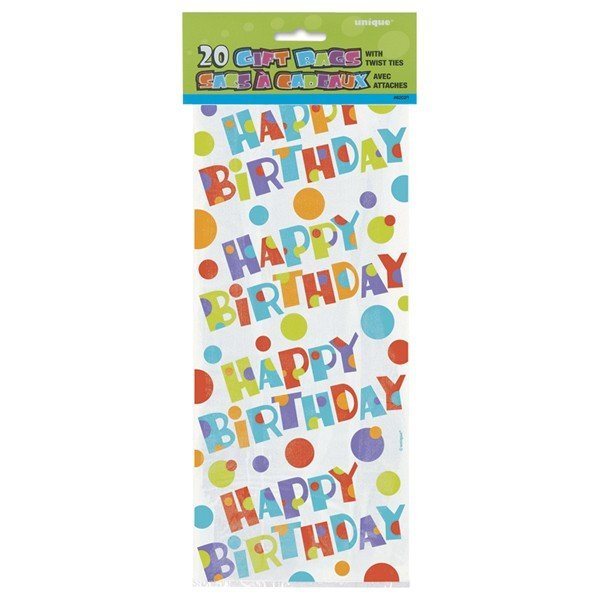 Unique Party Cello Bags - Bubbly Birthday