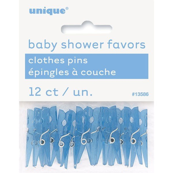 Unique Party Clothespin Favors - Blue Shower