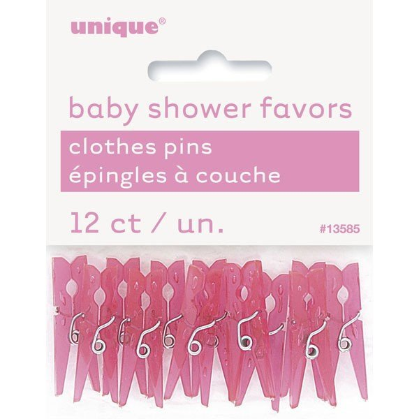 Unique Party Clothespin Favors - Pink Shower