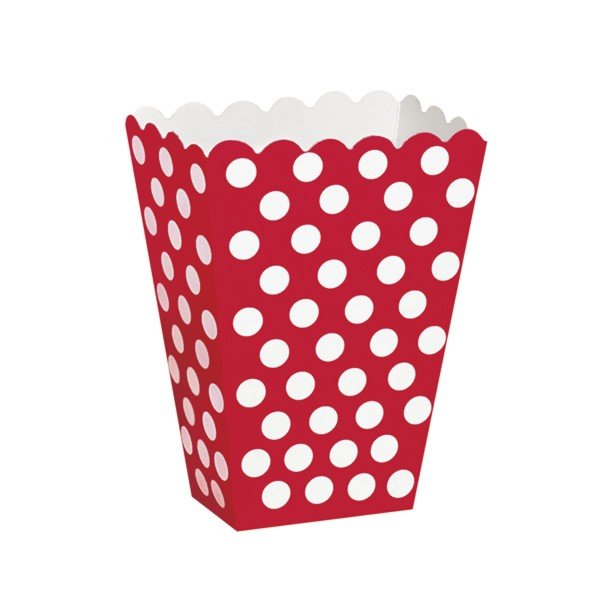 Unique Party Dots Treat Boxes - Ruby Red