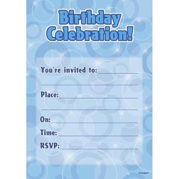 Unique Party Flat Invites - Blue Glitz
