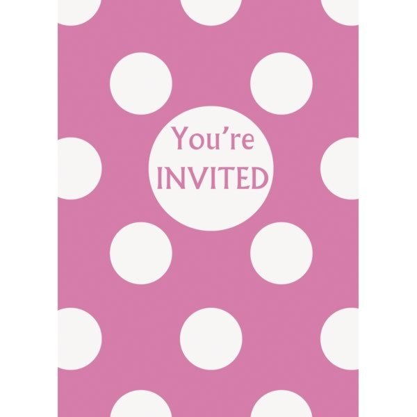 Unique Party Invites - Hot Pink Dots