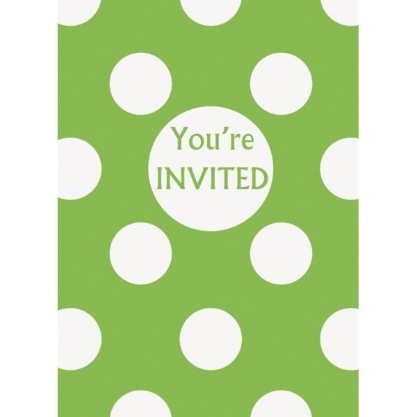Unique Party Invites - Lime Green Dots