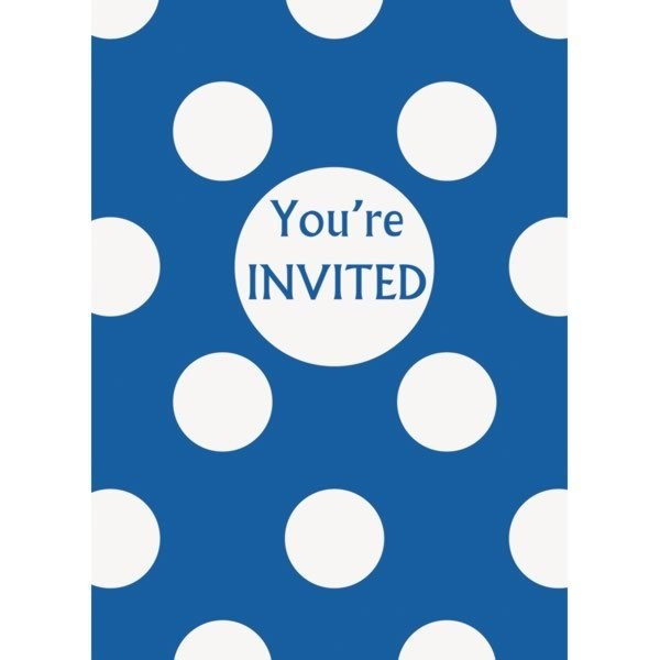 Unique Party Invites - Royal Blue Dots