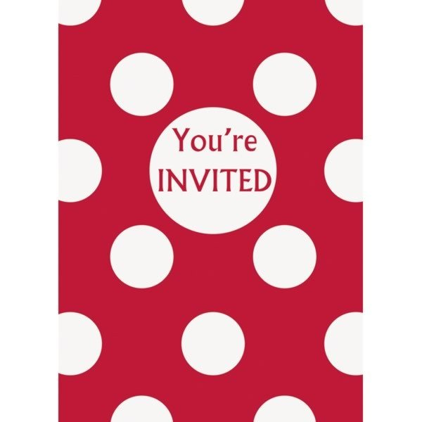 Unique Party Invites - Ruby Red Dots