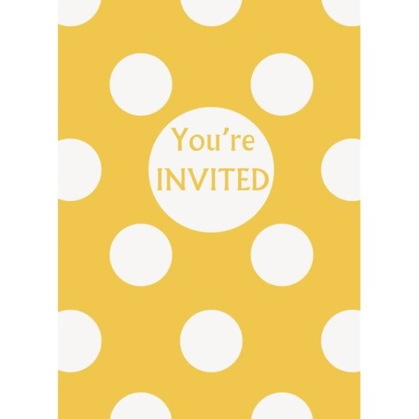 Unique Party Invites - Yellow Dots