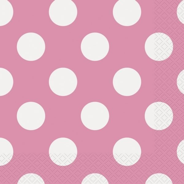 Unique Party Lunch Napkins - Hot Pink Dots