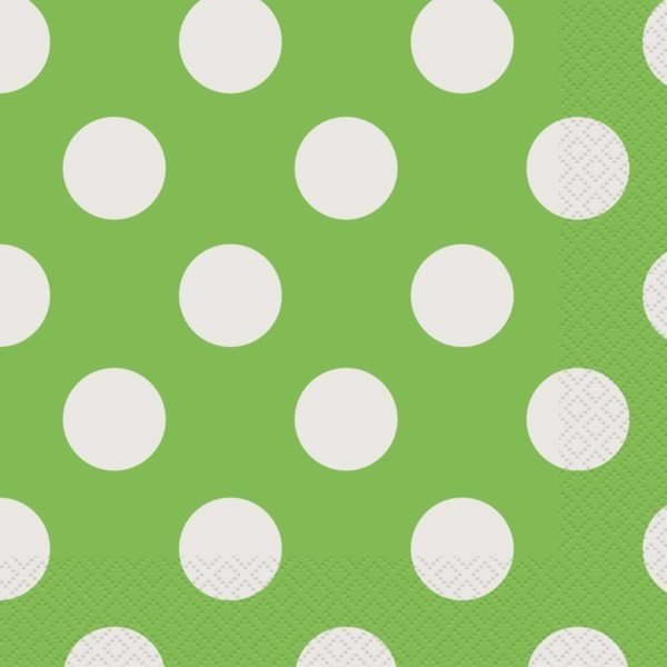 Unique Party Lunch Napkins - Lime Green Dots