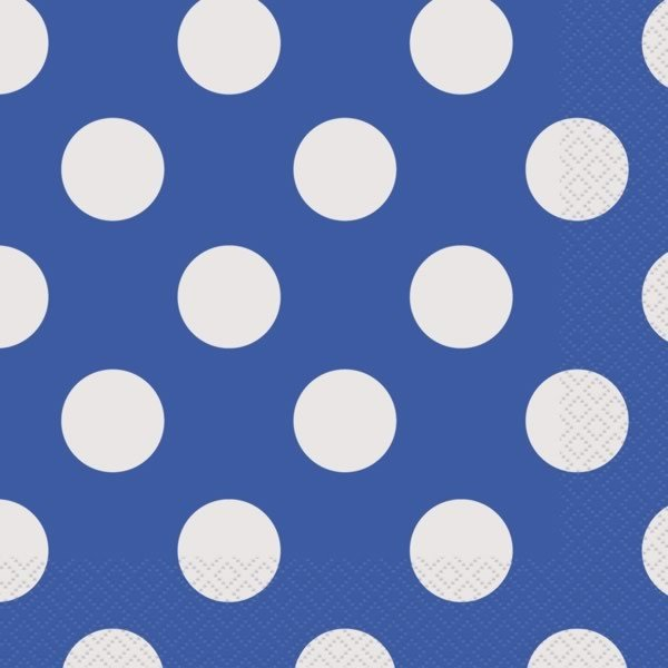 Unique Party Lunch Napkins - Royal Blue Dots