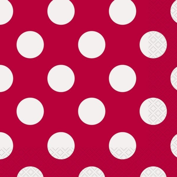 Unique Party Lunch Napkins - Ruby Red Dots
