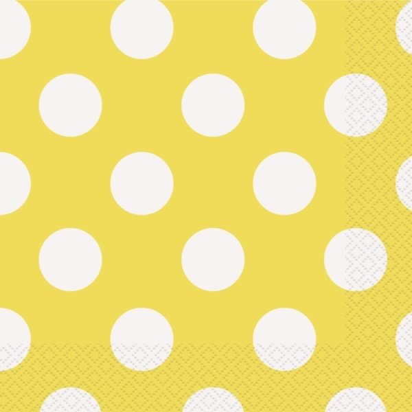 Unique Party Lunch Napkins - Yellow Dots