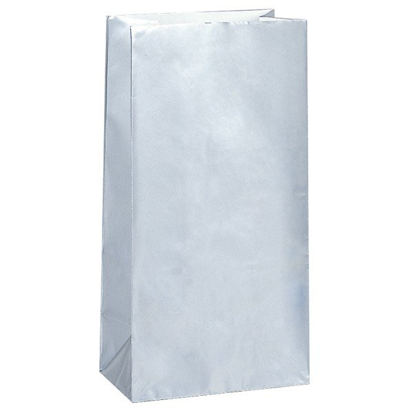 Unique Party Paper Party Bags - Metallic Silver