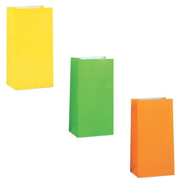 Unique Party Paper Party Bags - Neon Assorted