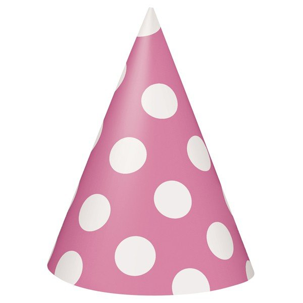 Unique Party Party Hats - Hot Pink Dots