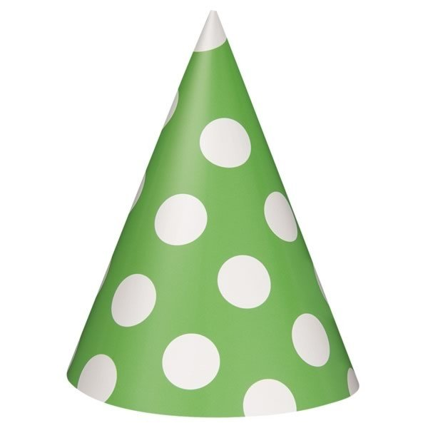 Unique Party Party Hats - Lime Green Dots