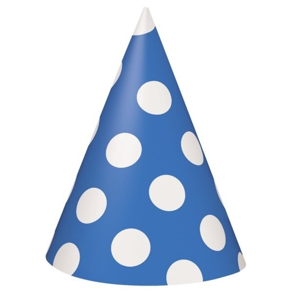 Unique Party Party Hats - Royal Blue Dots