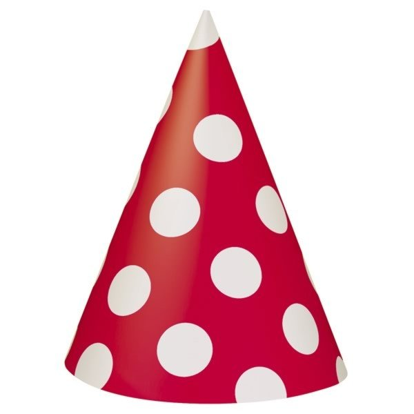 Unique Party Party Hats - Ruby Red Dots