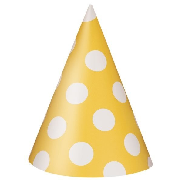 Unique Party Party Hats - Yellow Dots