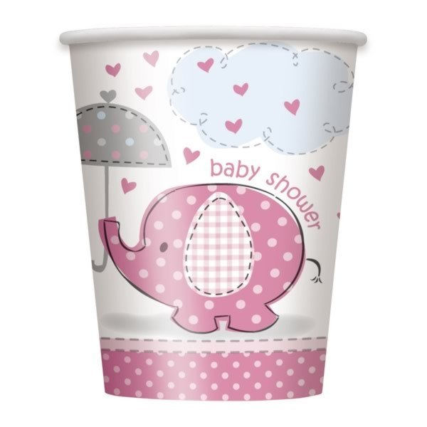 Unique Party Pink 9oz Cups - Umbrellaphants