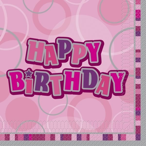 Unique Party Pink Glitz Lunch Napkins - Birthday
