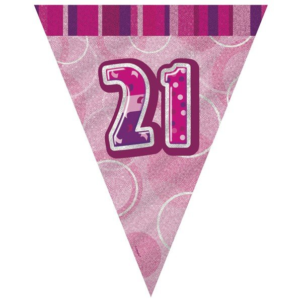 Unique Party Pink Pennant Bunting - 21