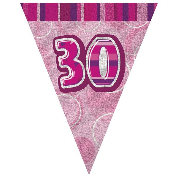 Unique Party Pink Pennant Bunting - 30
