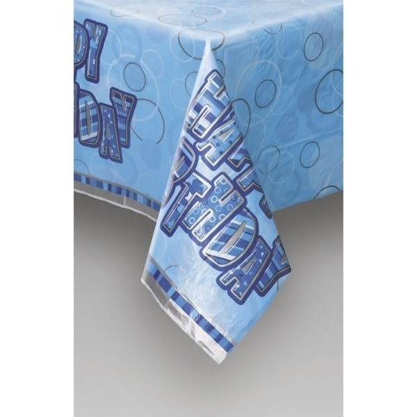 Unique Party Plastic Tablecover - Blue Glitz