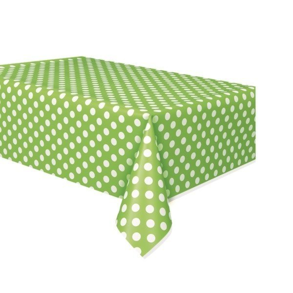 Unique Party Tablecover - Lime Green Dots