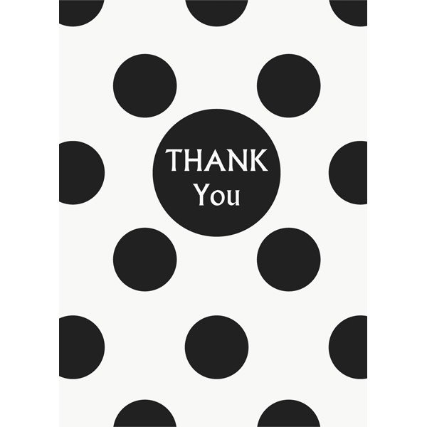 Unique Party Thank You Notes - Black Dots