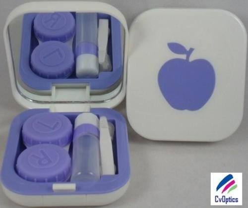 Violet Apple Design Contact Lens Travel Kit With Mirror