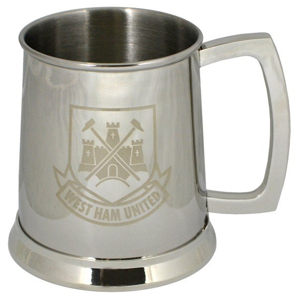 West Ham Crest Printed Chrome Tankard