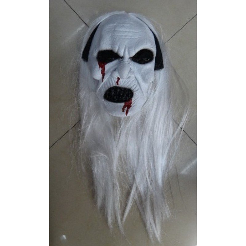 White Zombie Face Mask With White Hair For Halloween
