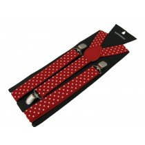 Unisex Printed Red With White Dots Fashion Braces