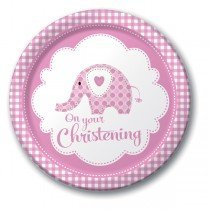 Creative Party Dinner Plates - Elephant Pink Christening