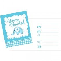 Creative Party Invitations - Blue Sweet Baby Elephant