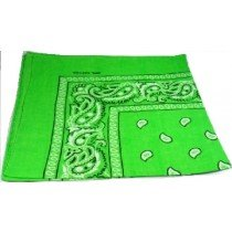 Bright Green Paisley Bandana Head Scarf
