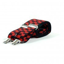Unisex Printed Red & Black Chequered Fashion Braces