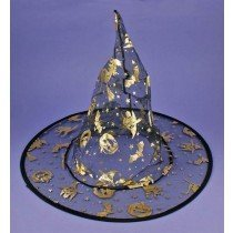 Halloween Witch Hat Black With Gold Colour Spooky Halloween Design