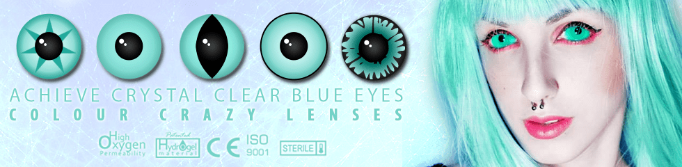 blue crazy coloured contact lenses- block, fashion, and fancy dress lenses