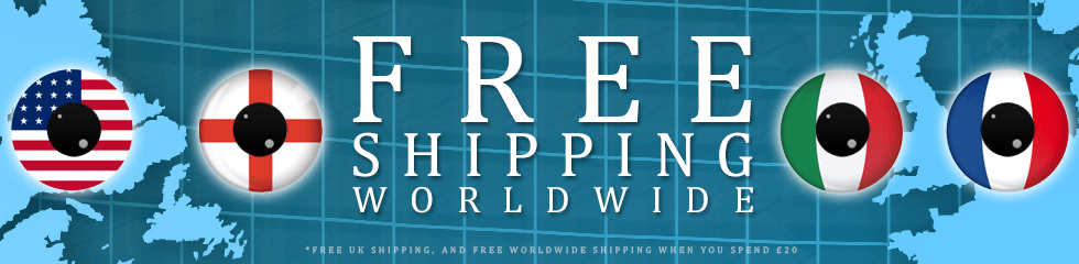 free shipping worldwide - on all coloured contact lenses orders over £20 plus free uk delivery