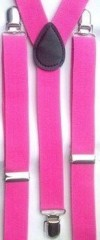 Unisex Plain Hot Pink 25mm Fashion Braces