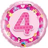 Qualatex 18 Inch Round Foil Balloon - Age 4 Pink Princess