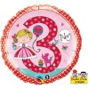 Qualatex 18 Inch Round RE Foil Balloon - Age 3 Princess Polka Dots